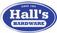 Hall's Hardware sign