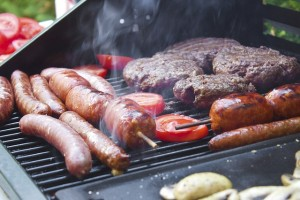 Food on outdoor grill