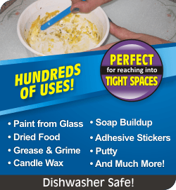 Hundreds of uses! Perfect for reaching into tight spaces. Paint from glass, dried food, grease & grime, candle wax, soap buildup, adhesive stickers, putty, and much more! Dishwasher safe!