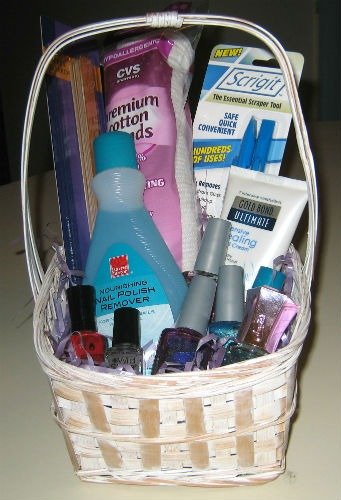 Bridal shower Nail care gift basket