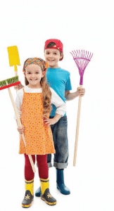 2 kids with cleaning tools