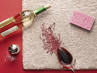 Clean party spills of red wine