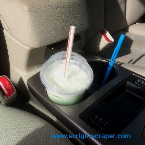 Scrigit Scraper in car cup holder