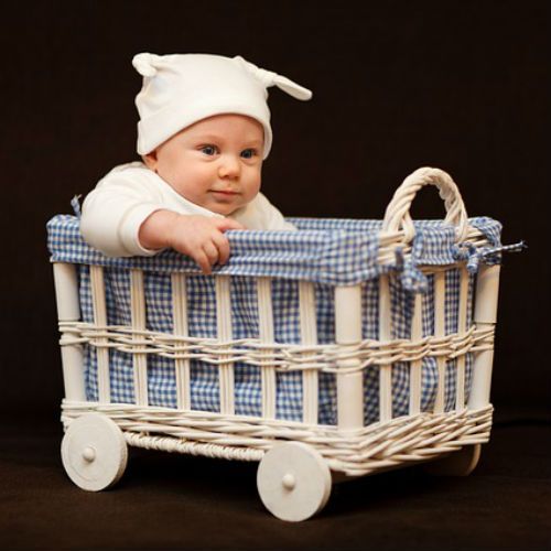Baby in basket for mess-free home