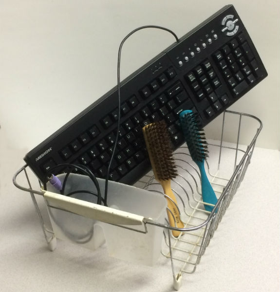 dishrack, keyboard, brushes