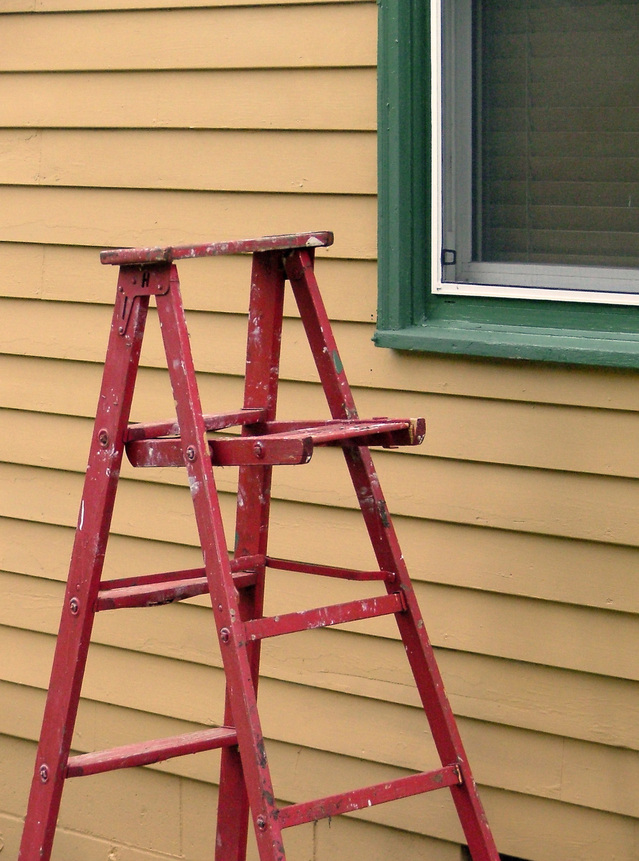 ladder by house for fall outdoor cleanup