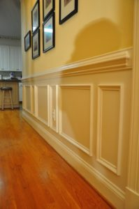 wall with picture frames for wainscoting
