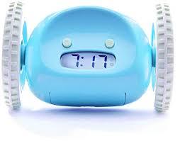 Runaway wheeled alarm clock